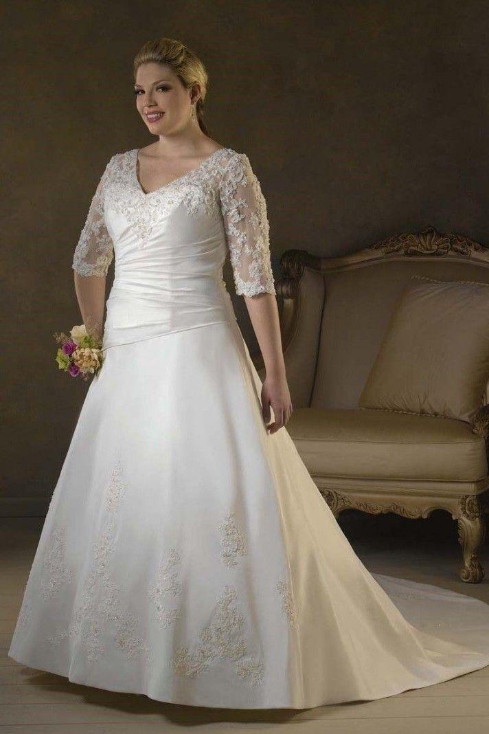 62d590d1a0b1 ALICIA - vestito sposa taglie forti con mezze maniche in organza e pizzo
