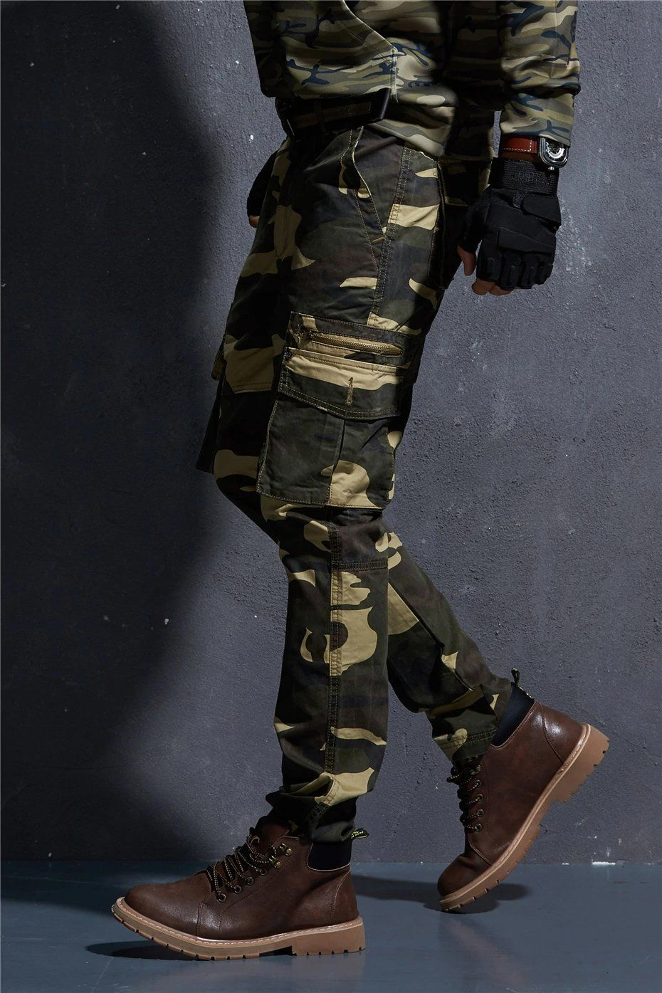 b78d4695f8464 Camo Pants For Mens Military Style Tactical Cargo Pants Army Camouflage  Straight Trousers Multi Pocket Camo Joggers - 2 Colors