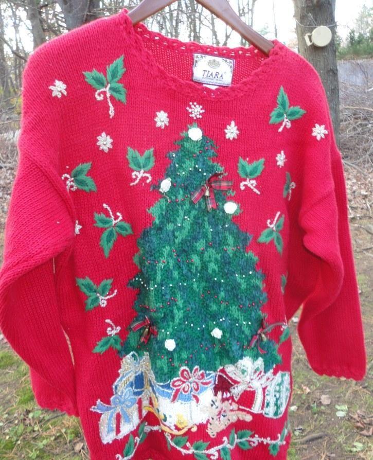 Womens holiday sweater ugly sweater Christmas tree 22/24   Christmas ...