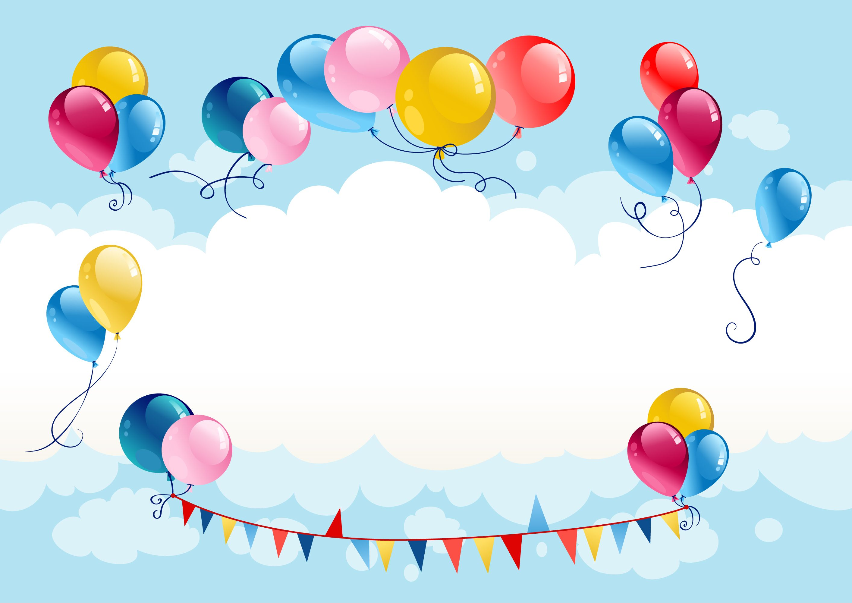 Playful And Colorful Balloons Blue Sky Background Colourful Balloons Colorful Frames Happy Birthday Frame