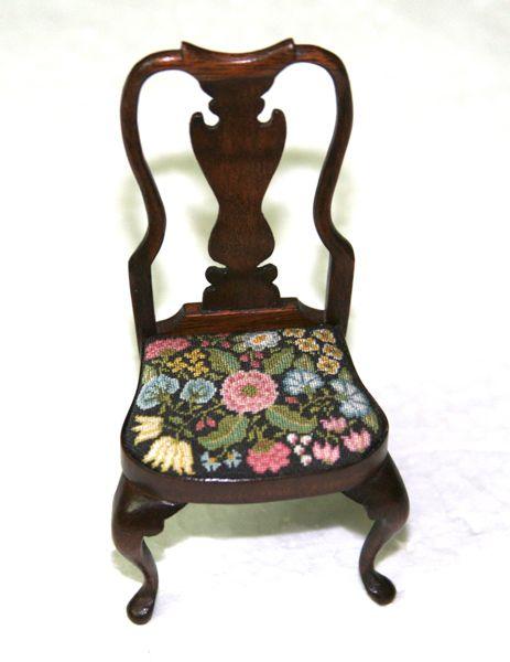 Attractive Gorgeous Miniature Queen Anne Side Chair: Annelle Ferguson Needlework,  David Booth Chair: Mini