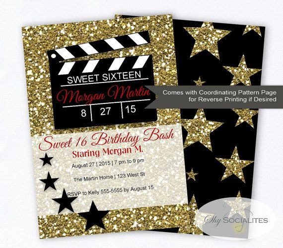 hollywood glamour movie party invitation | sweet sixteen | movie, Party invitations