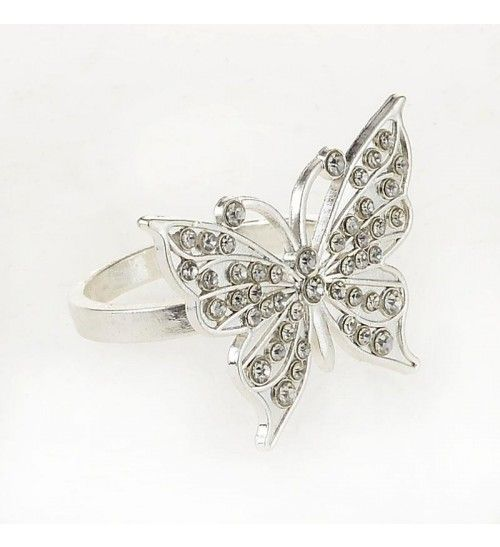 S_4 SILVER PLATED METAL NAPKIN RING HOLDER_BUTTERFLY W_STONES D-4