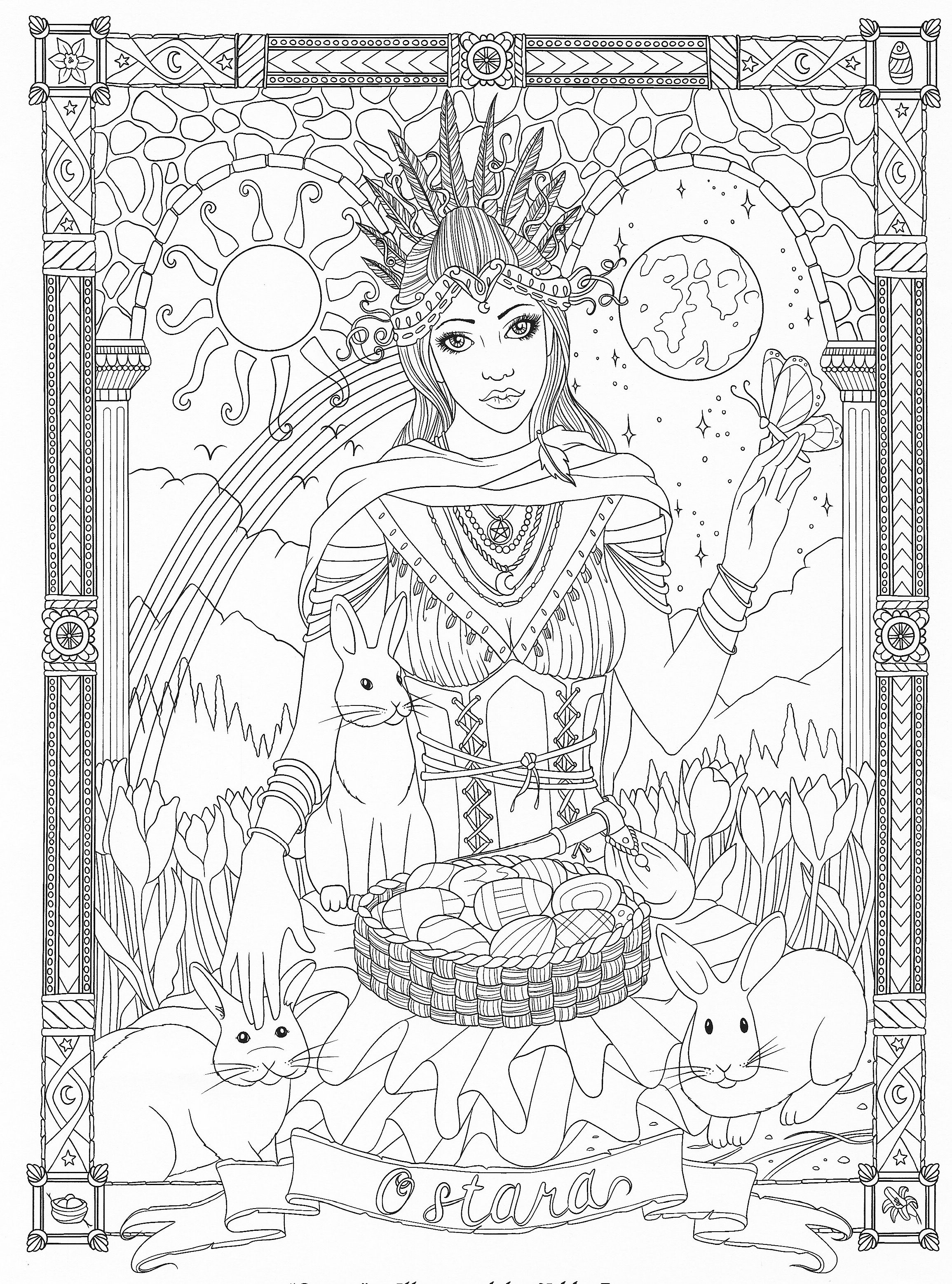 Wiccan Coloring Pages : wiccan, coloring, pages, Goddess, Coloring, Pages, Adults