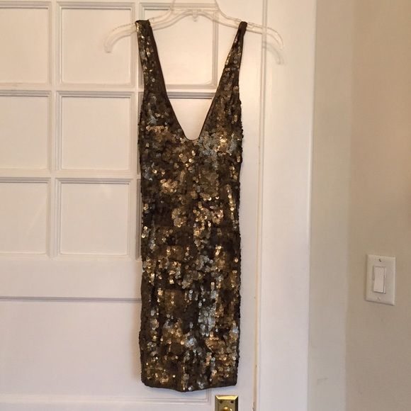 c35ef332 French connection Sequin Mini Dress Mini sequin dress in a gorgeous and  unique olive green. The sequins are subtle and very pretty.