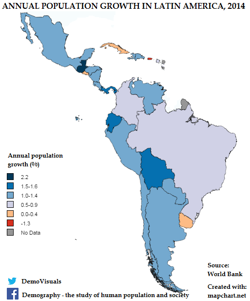 Annual Population Growth In Latin America Maps Of South America - South american population map