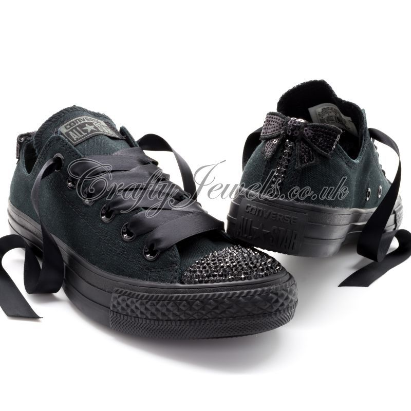8e9bd0d58c1a92 Crystal Converse All Black with Swarovski or Diamante Crystals ...
