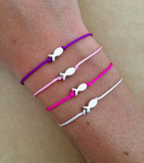 Silver Plated Fish Charm Friendship Bracelet Macrame Bracelet Summer Bracelet Summer Bracelets Friendship Bracelets Hippie Bracelets