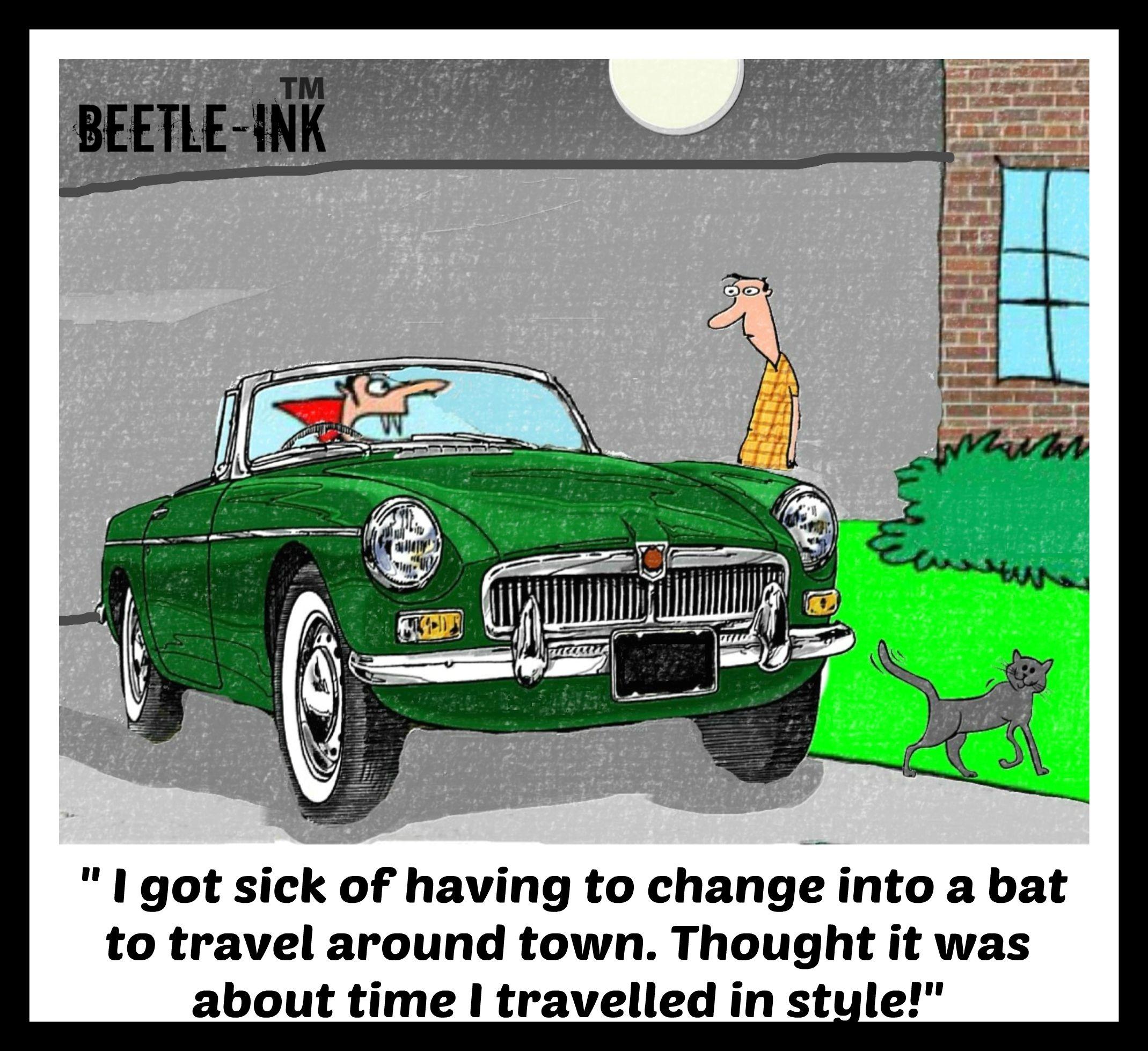 mgb Dracula Halloween cartoon by beetleink Automotive