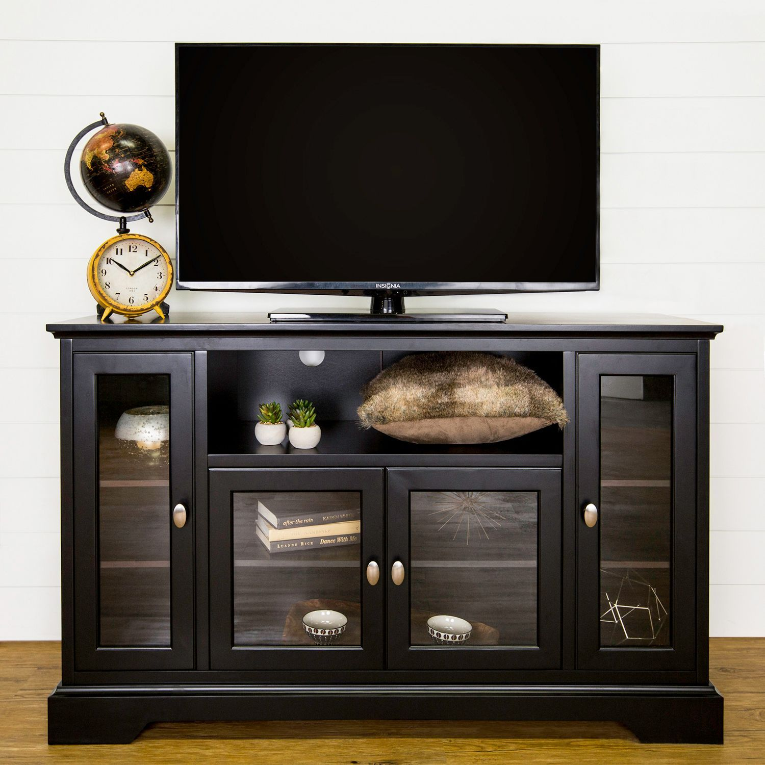 52 Black Highboy Tall Tv Stand With Images Tall Tv Stands Tv