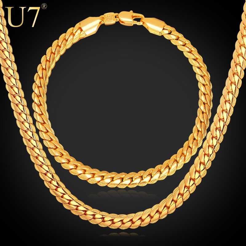 New Trendy 18k Stamp Necklace 웃 유 Set Men Jewelry Wholesale 웃 유 18k Real Gold Plated Chain Necklace Bracelet Gold Chains For Men Chains For Men Fashion Jewelry