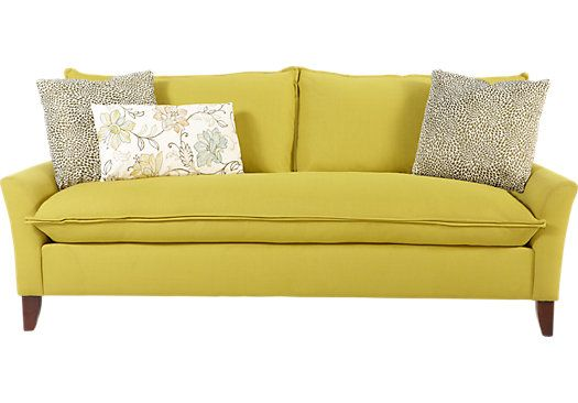 Sofia Vergara Catalina Chartreuse Sofa At Rooms To Go Find Sofas That Will Look Great
