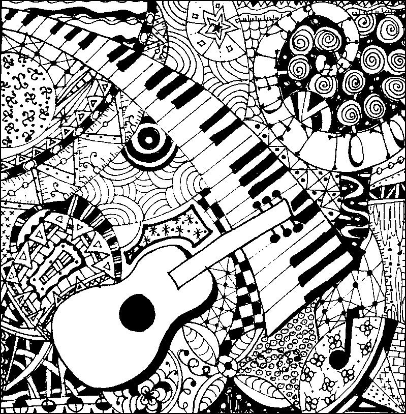 Adult coloring page Music Guitar and piano 5 Coloriage