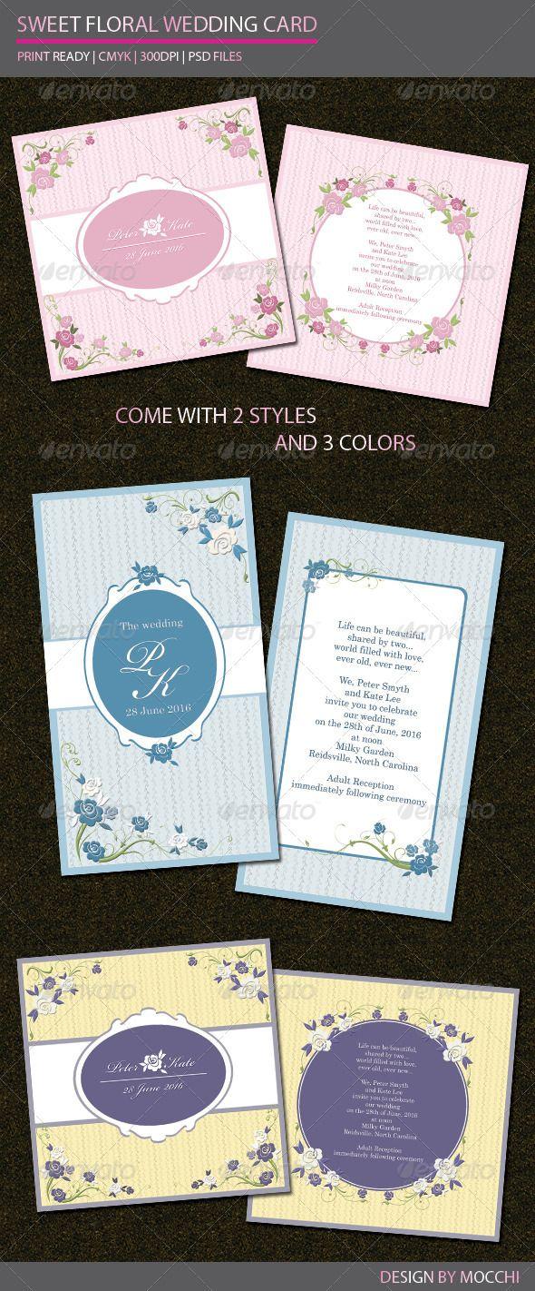 card templates for wedding invitation%0A Sweet Floral Wedding Card