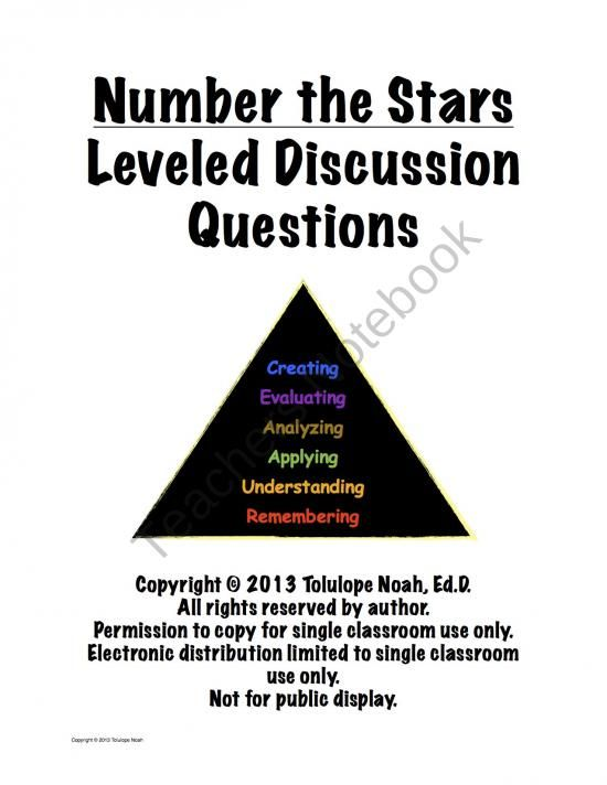Number the Stars Leveled Reading Comprehension Discussion