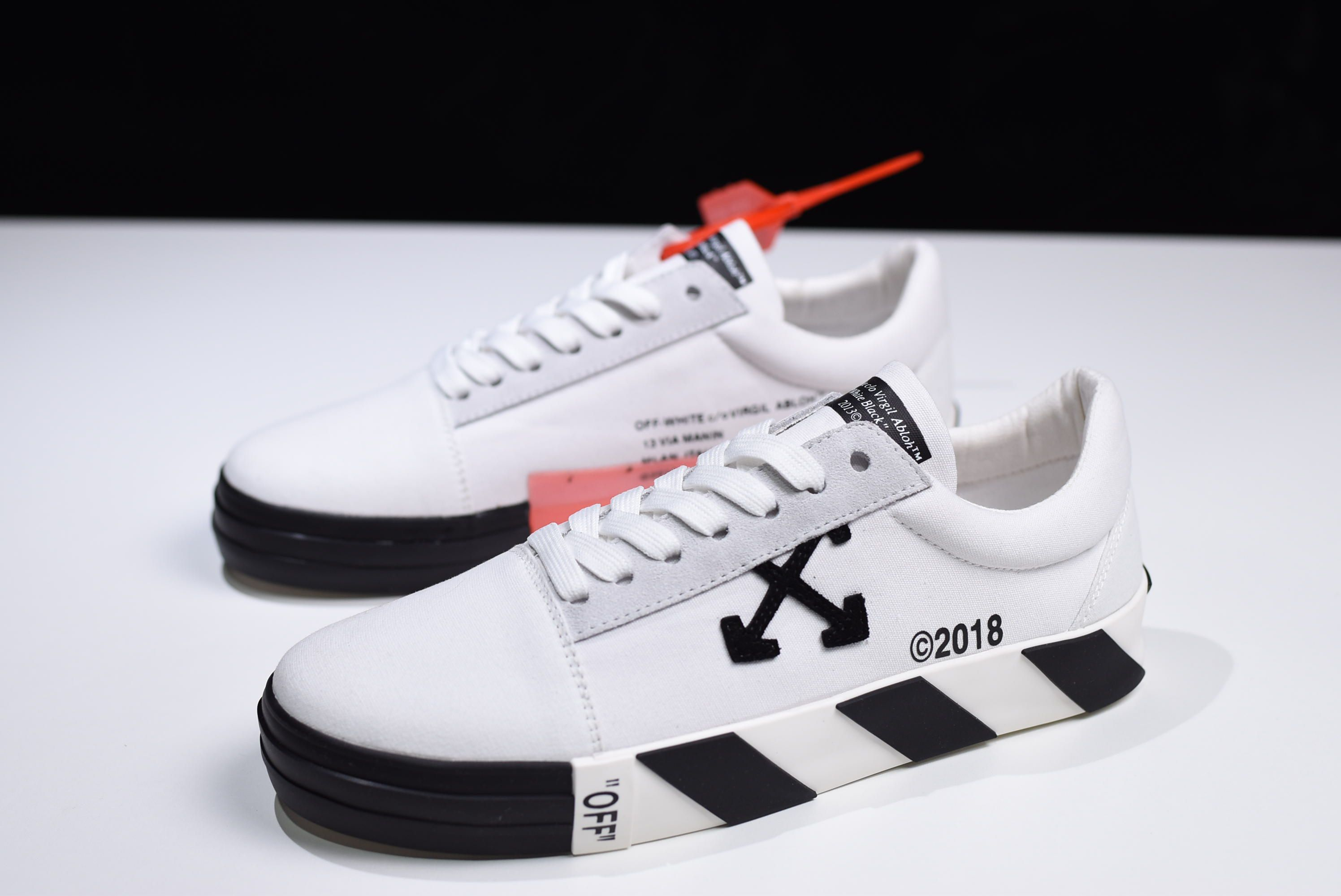 def82621ef 2018 Off-White c o Virgil Abloh Vulc Low Top White Black On Sale