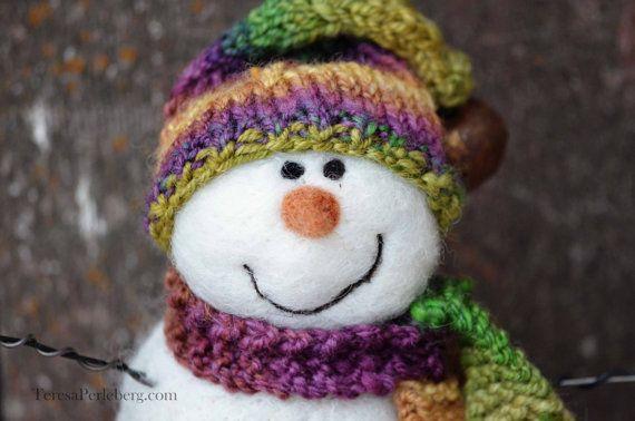 Snowmen Solid wool needle felted Snowman 533 by BearCreekDesign