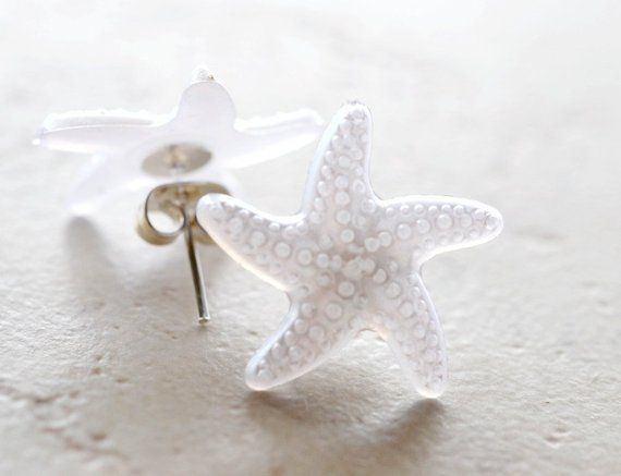a154246a6 White Starfish Earrings, Bright White Star Fish Studs, Plastic Jewelry  Nautical Gifts Ocean Animals