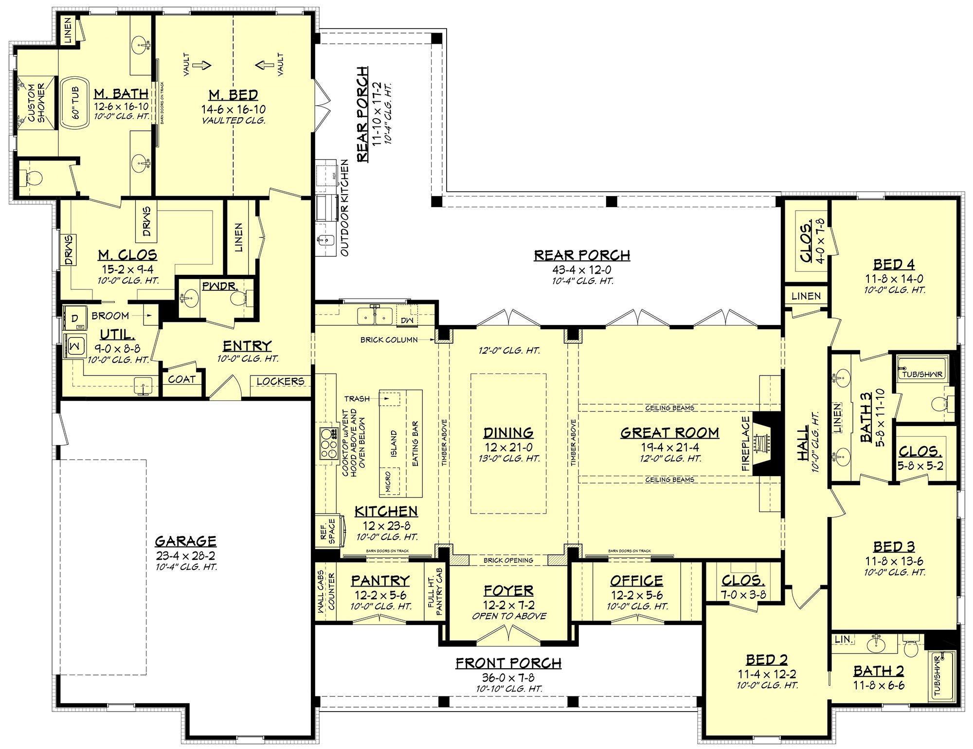Modern Farmhouse Plan: 3,076 Square Feet, 4 Bedrooms, 3.5 Bathrooms - 041-00202 #modernfarmhousestyle