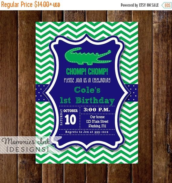 10% OFF SALE Royal Blue and Green Alligator Invitation, Alligator Birthday, Gator Party, Boy Birthday, 1st Birthday, Alligator Party, Chevro