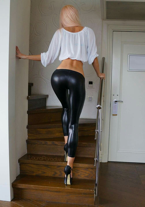 Sexy woman wearing skin tight pants