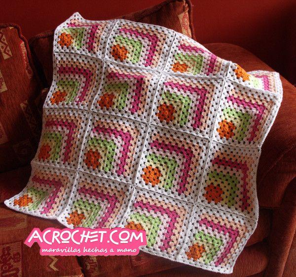Manta medio granny nina3 crochet pinterest manta - Mantas lana ganchillo ...