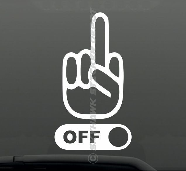 Fck Off Middle Finger Funny Bumper Sticker Vinyl Decal Car Truck - Funny decal stickers for cars
