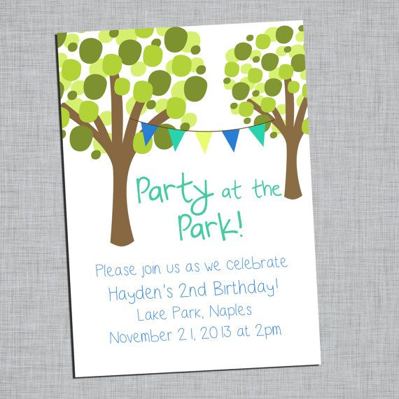 Party In The Park Childrens Birthday Party Invitations by Ellis – Childrens Birthday Party Invitations