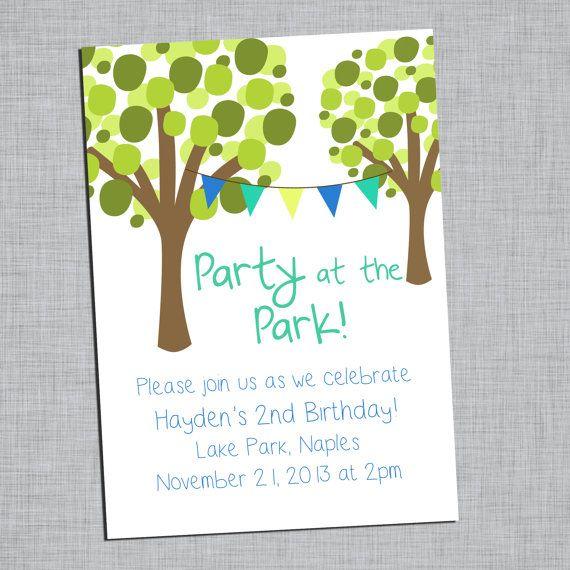 Birthday Party Invitation Party at the Park   Hard by DashCompany - invitation to a party