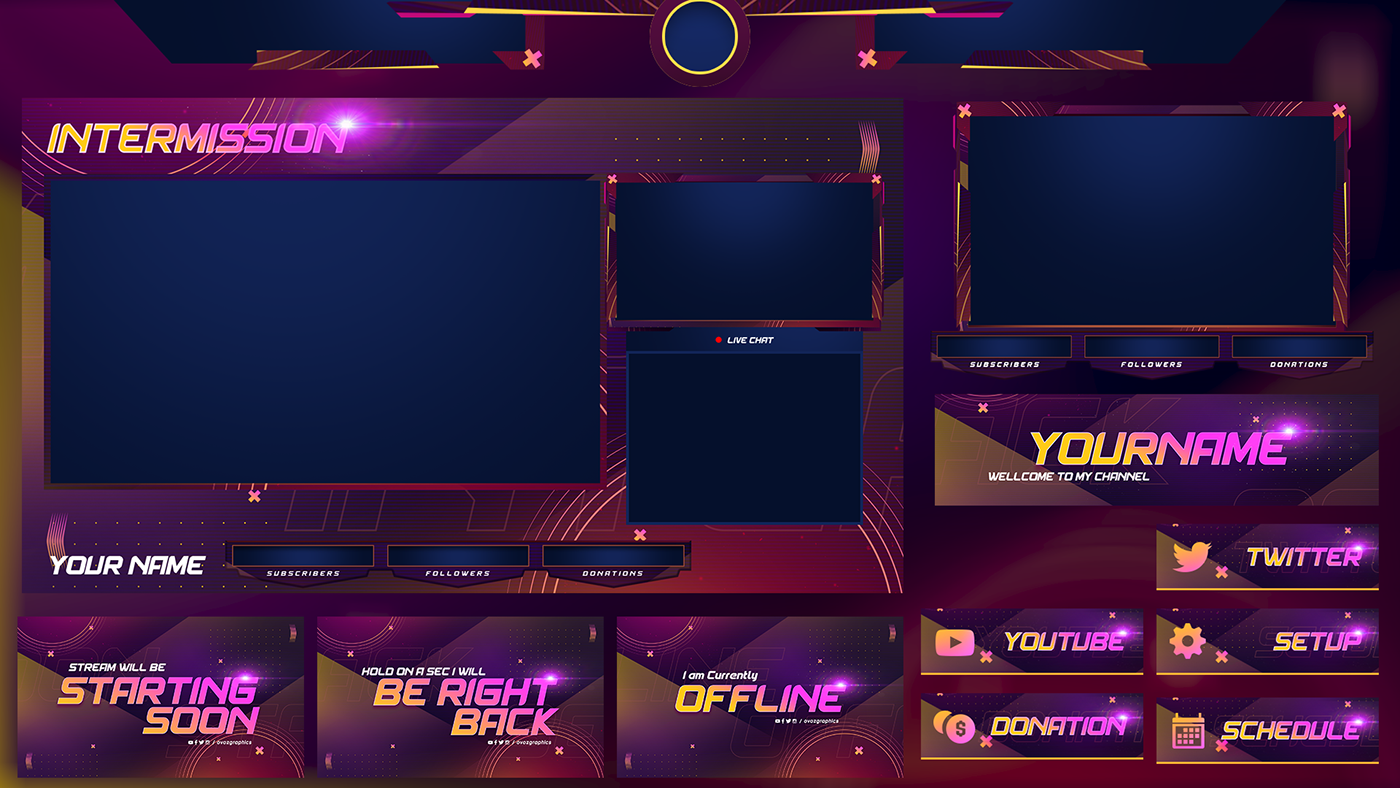 Zeinoel I Will Create Full Packs Animated Twitch Overlay Mixer Youtube Fb For 35 On Fiverr Com Free Overlays Overlays Streaming