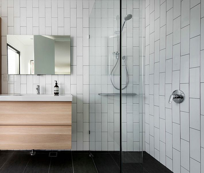 Contemporary Bathrooms With Subway Tile vertical subway tile with dark grout | bathroom | pinterest