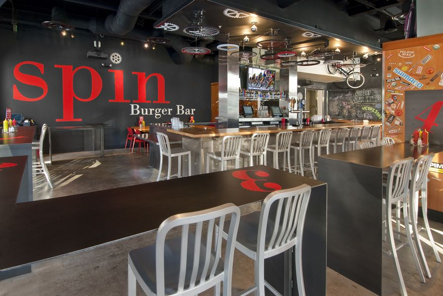Spin Burger Sacramento, CA Burger bar, Burger, Dining area