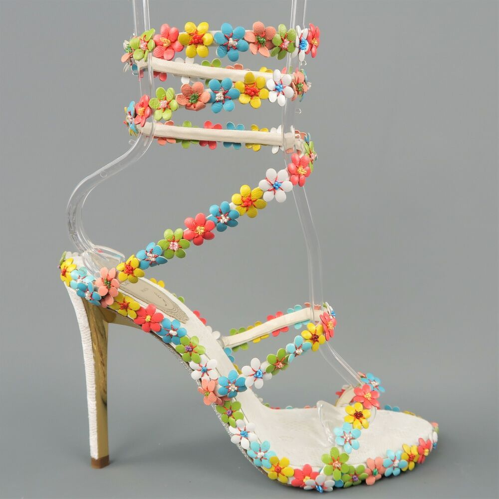 9fd0cf4afea88 eBay #Sponsored RENE CAOVILLA US 8.5 / IT 38.5 White Leather Multi Color  Flower Coil Sandals