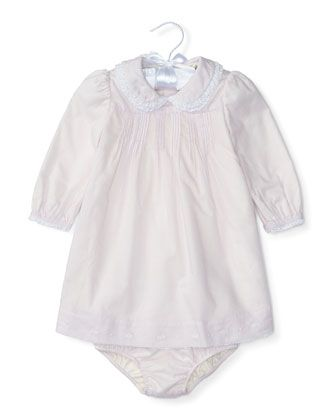 Pintucked+Brushed+Twill+Dress+w/+Bloomers,+Summer+Lilac,+Size+6-24+Months+by+Ralph+Lauren+at+Neiman+Marcus.