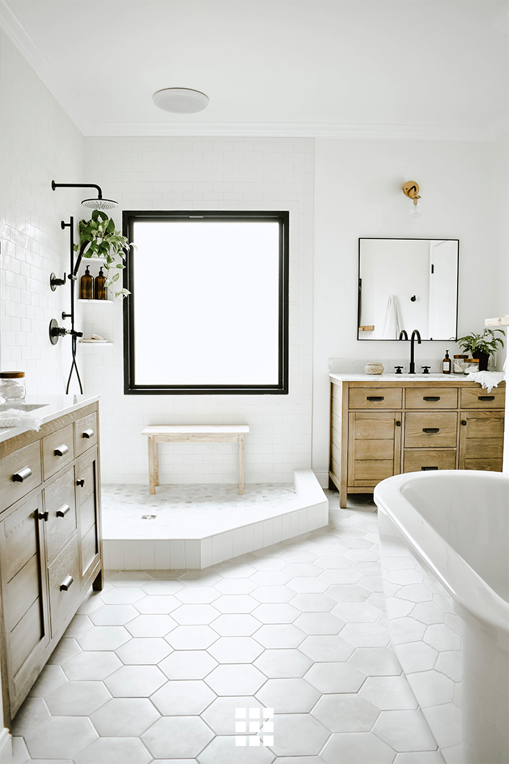 Bright Open Spaces Make Us Think Of Spring Discover More Hex Tile Options For Your Bathroom Space Eclectic Bathroom Bathroom Remodel Master Bathrooms Remodel