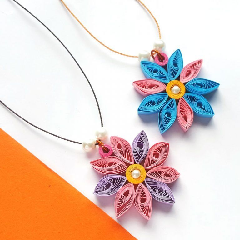 Make This Simple Paper Quilled Flower Pendant Paper Quilling