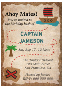Treasure Map Pirate Birthday Party Invitation