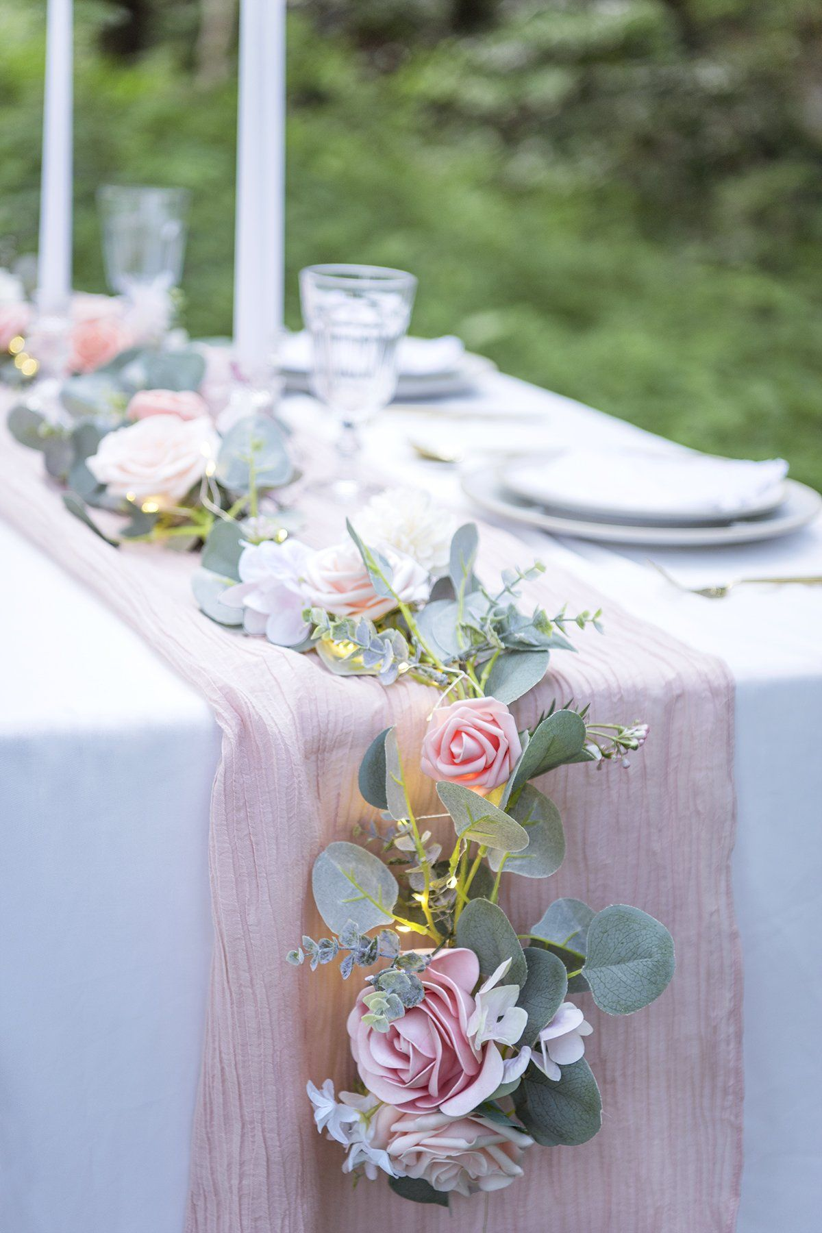 Eucalyptus Flower Garland With Fairy Lights 6 5ft Blush Pink In 2020 Bridal Shower Decorations Wedding Table Flower Decorations