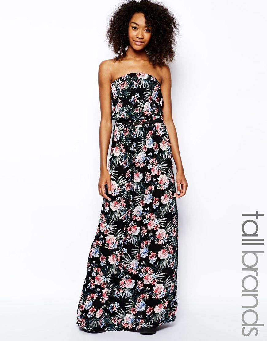 New Look Tall New Look Tall Floral Bandeau Maxi Dress At Asos Maxi Dress Dresses Strapless Dress Formal [ 1110 x 870 Pixel ]