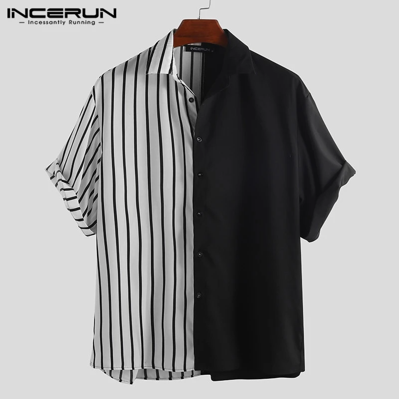 Mens Fashion Patchwork Striped Blouse Long Sleeve Casual Baggy Hip Hop Shirt Top
