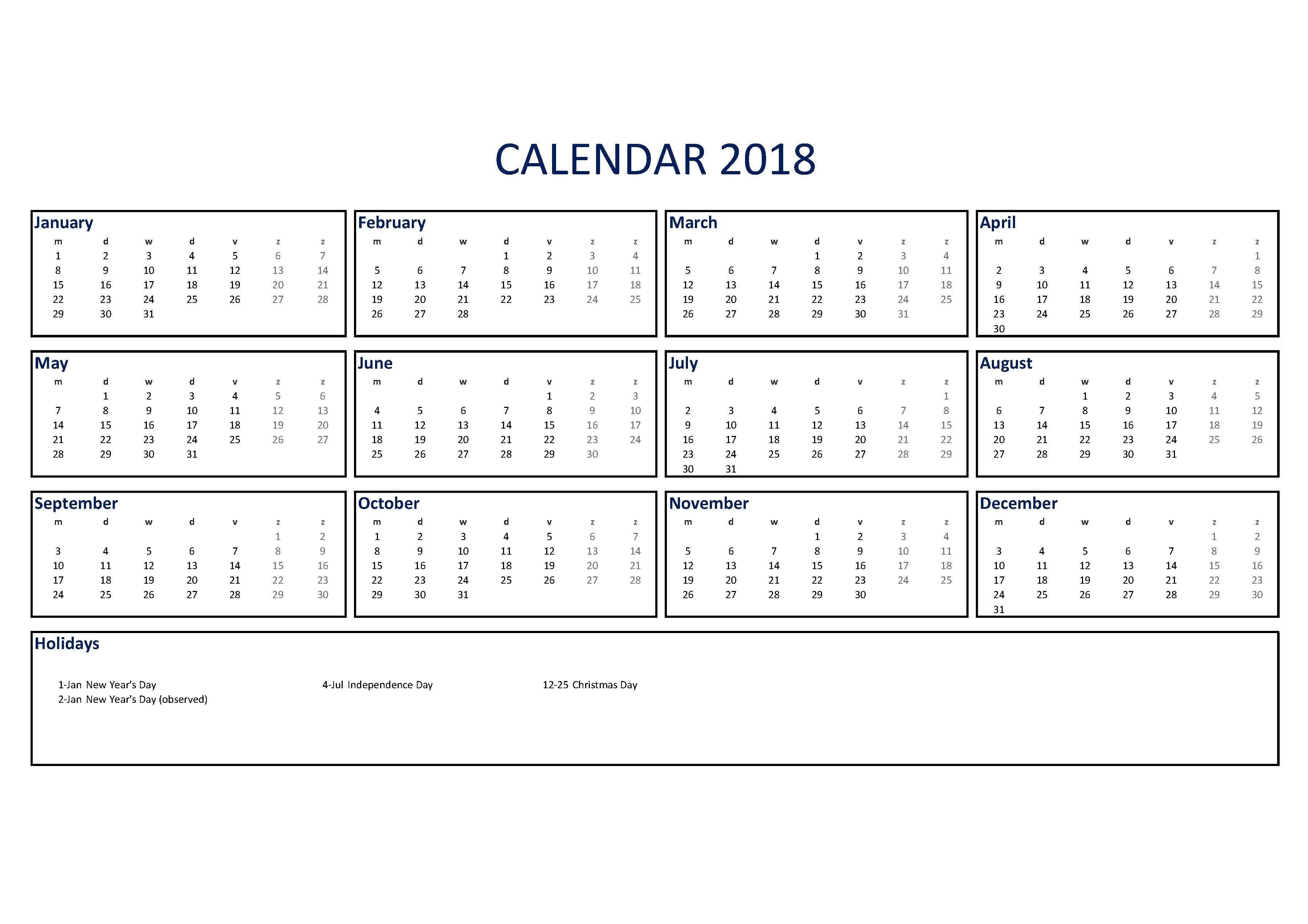 free excel calendar template 2018