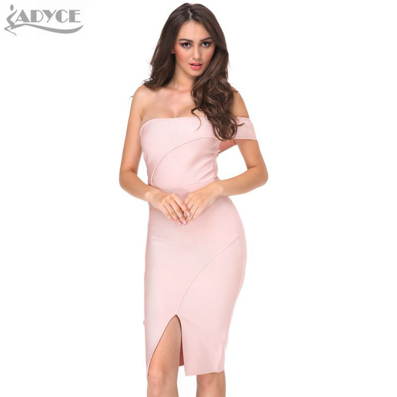 8f80cb13907b5 adyce wholesale 2018 women summer bandage dress nude off shoulder knee  length cut luxury sexy cocktail party prom bodycon dress #eveninggowns ...