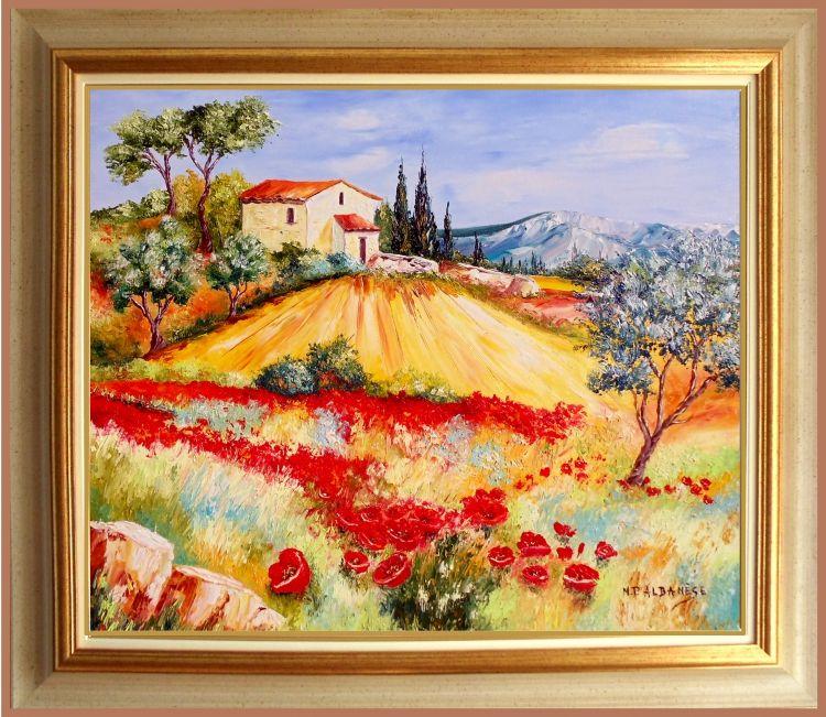 tableau peinture tableaux de provence paysage de provence oliviers coquelicot peintres de. Black Bedroom Furniture Sets. Home Design Ideas