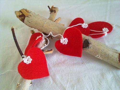 Heart Garland felt red and white crocheted by feltancrochet, $10.00