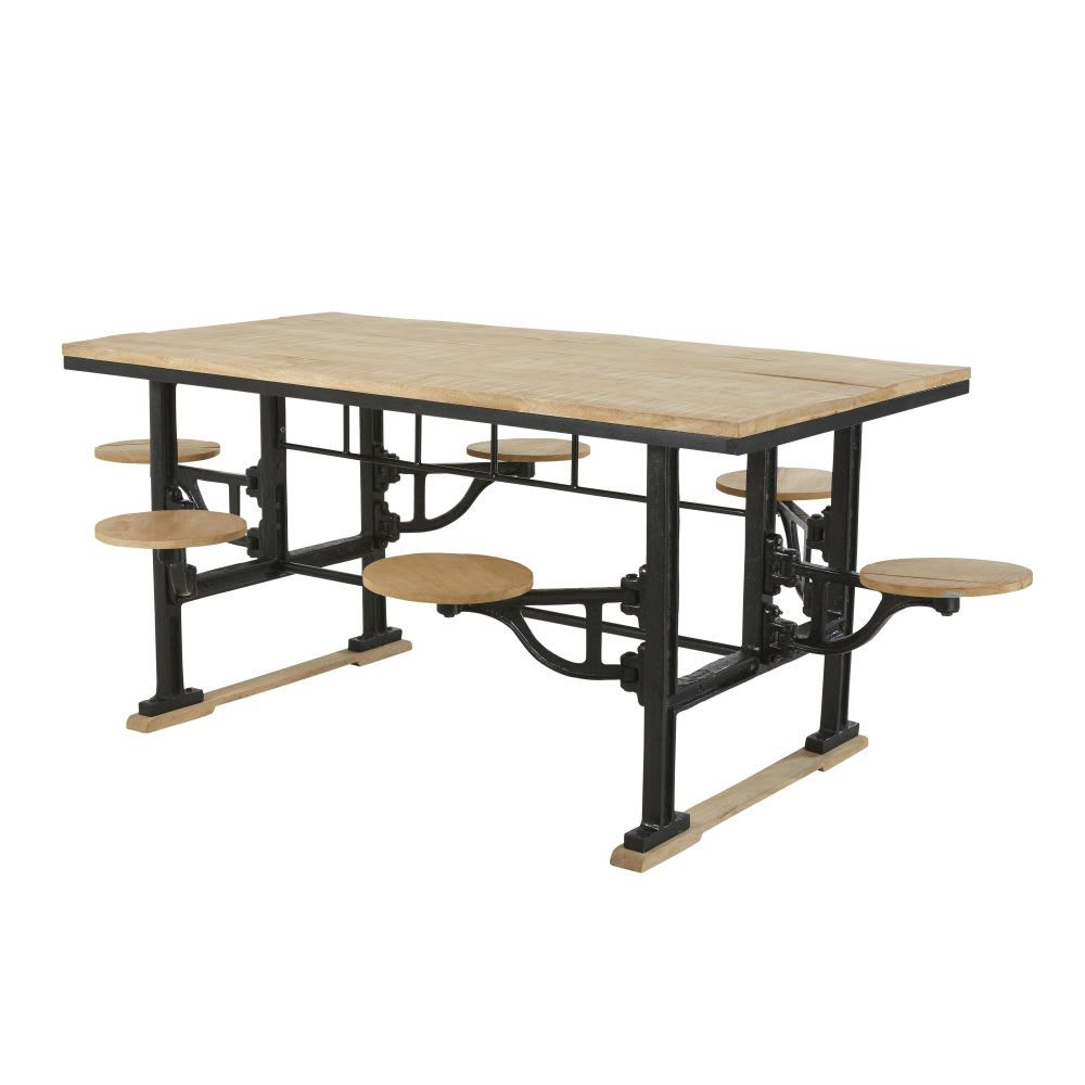 344e53b5b7 Cast Iron and Mango Wood 8-Seater Dining Table with Stools W180 Factory