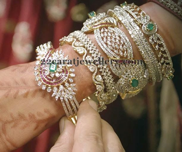 Jewellery Designs Broad Chic Diamond Bangles Sets