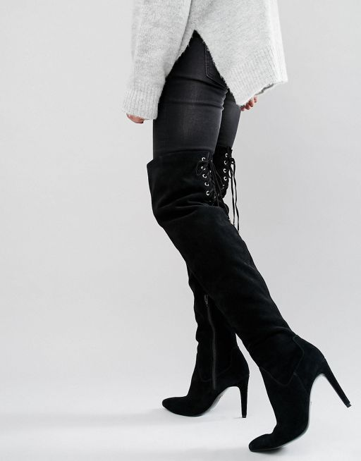 5565dbbead Faith Solo Fierce Tie Back Suede Heeled Over the Knee Boots ASOS ...