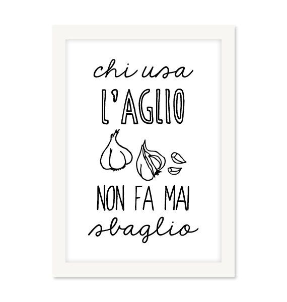 kitchen poster, kitchen art, kitchen print - L'aglio - italian cooking quote, food poster, kicthen decor, wall art, italy food, set of print...