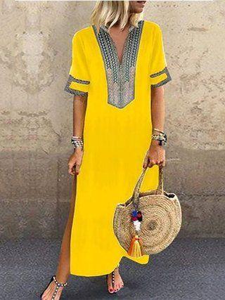 Vestido de verano sólido de cuello en V Green Shift Women Daily Statement Half Sleeve Slit #summerdresses