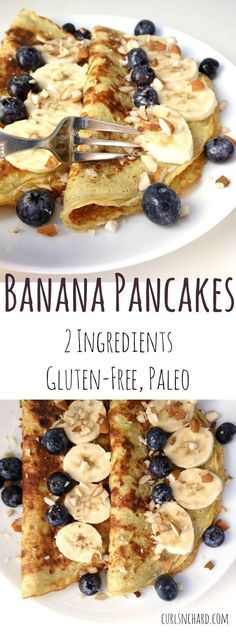 Banana Pancakes | Just 2 ingredients, delicious, gluten-free and super fast breakfast! | curlsnchard.com